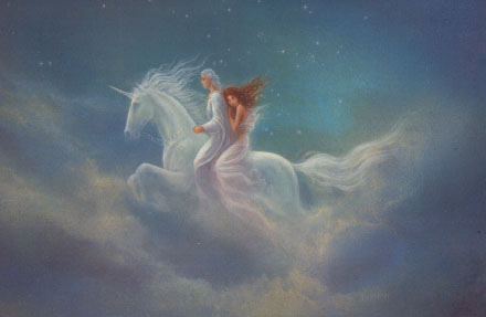 Loving Couple Mounted on Flying Unicorn