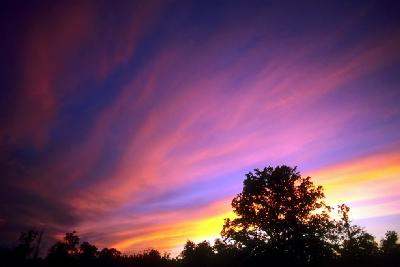 Sunset Sky: Purples, Blues, Pinks, Yellows