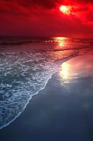 Red-Orange Sunset on Beach